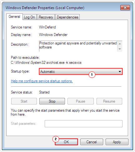 Windows Defender properties -> startup type -> automatic
