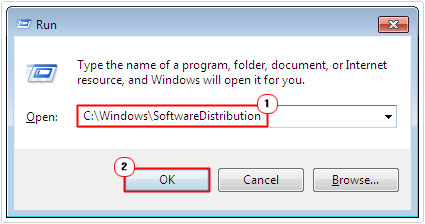 goto SoftwareDistribution folder