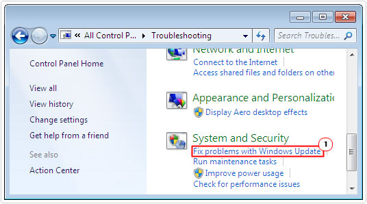 troubleshooting -> Fix problems with Windows Update