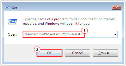 run -> %systemroot%\system32\drivers\etc