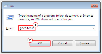 run command -> gpedit.msc