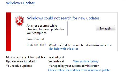 Windows 7 updates error 800b0001 windows vista stuck on searching for updates