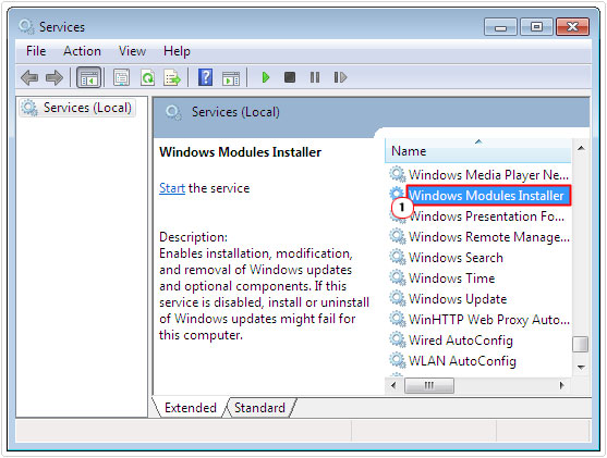 double click on Windows Module Installer