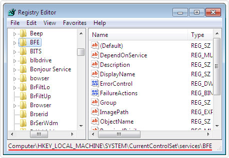 registry editor -> BFE path