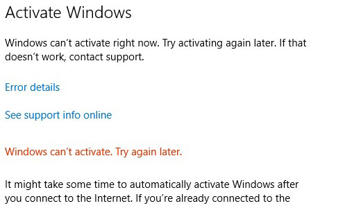cannot activate windows 10 after cloning