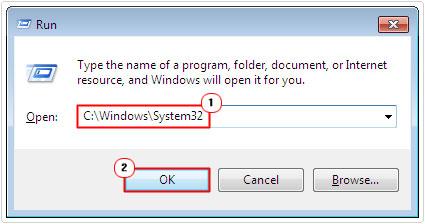 run command -> system32