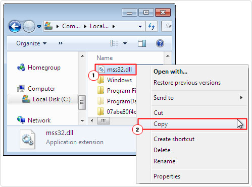 search file -> copy mss32.dll