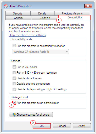 compatibility -> Run this program as an administrator