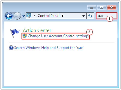 control panel -> uac