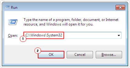 run -> system32
