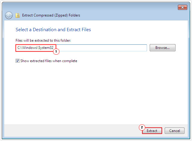 mss32.zip -> extract -> system32 folder