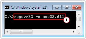 run regsvr32 -u mss32.dll command to unregister file