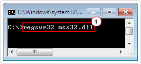 register file with regsvr32 mss32.dll command