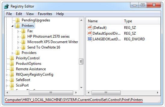 delete hp printer drivers registry